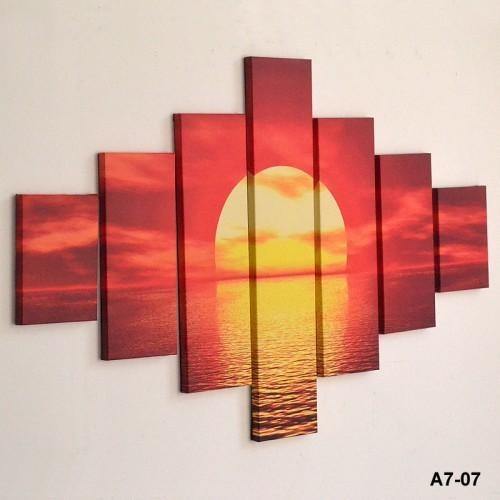 Large Sunset Sea Red Yellow Wall Art – Inthemarket Throughout Ireland Canvas Wall Art (View 14 of 20)