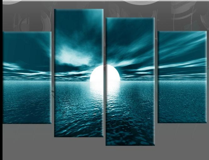 Large Teal Seascape Sunset Canvas Pictures Wall Art Split Multi 4 In Blue And Brown Canvas Wall Art (Image 15 of 20)