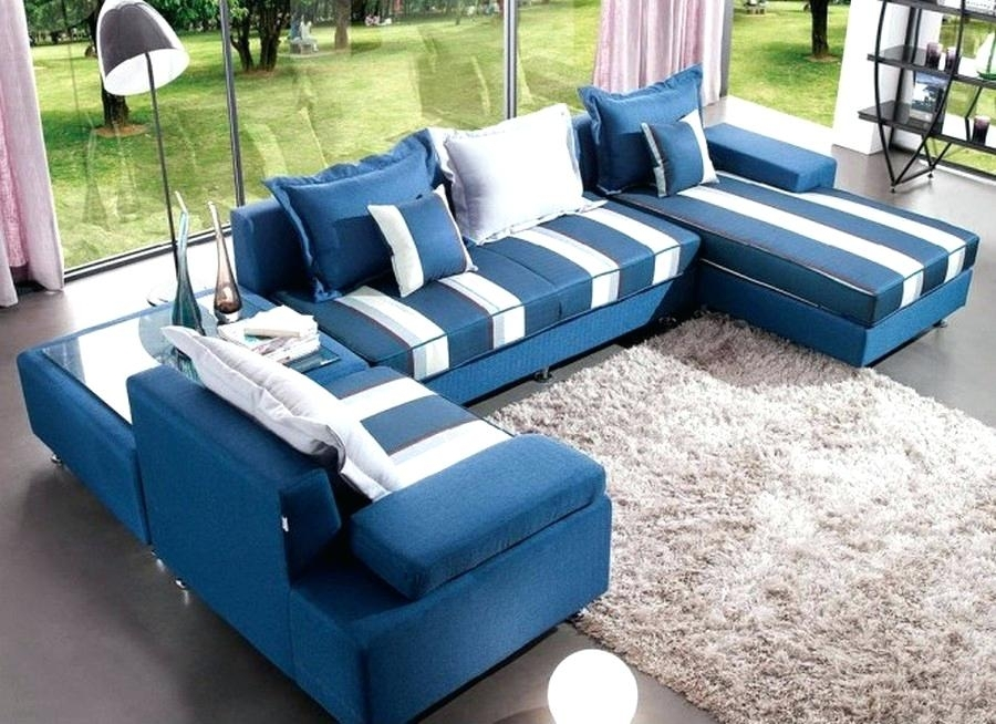 Large U Shaped Sectional Sofas Chic Blue Leather Sectional Sofa U Throughout Blue U Shaped Sectionals (View 6 of 10)