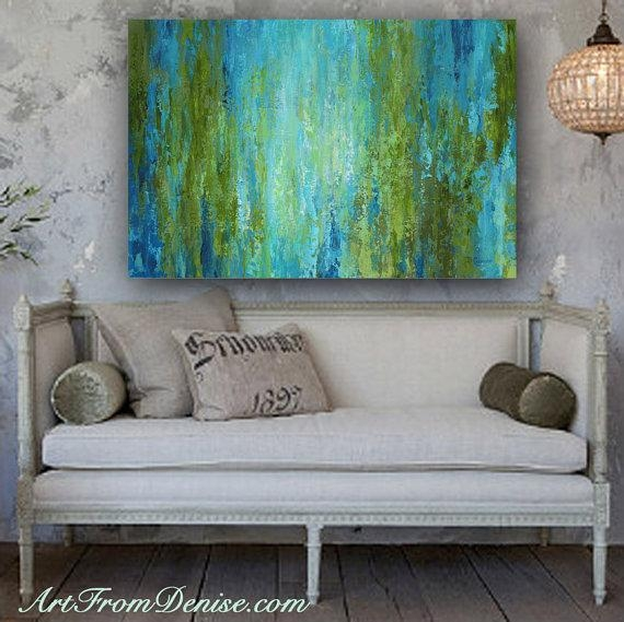 Large Wall Art, Abstract Canvas Print, Turquoise Olive Green Blue For Olive Green Abstract Wall Art (Image 10 of 20)