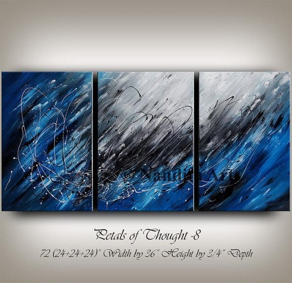Large Wall Art Blue Acrylic Abstract Painting Wall Decor Grey Pertaining To Abstract Art Wall Hangings (Image 10 of 20)