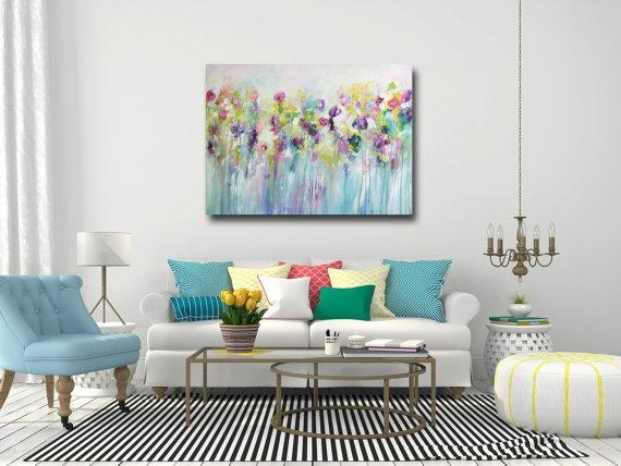 Large Wall Art Canvas Art Abstract Floral Canvas Print With Abstract Floral Canvas Wall Art (Image 17 of 20)