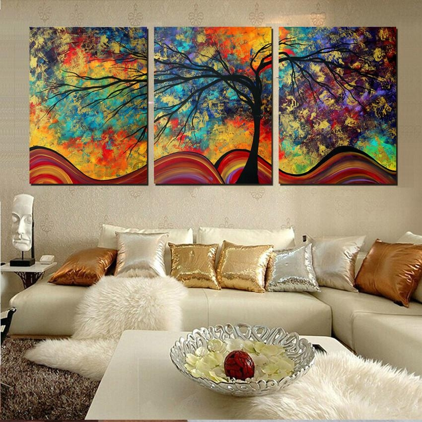 Large Wall Art Home Decor Abstract Tree Painting Colorful With Abstract Wall Art For Living Room (Image 16 of 20)