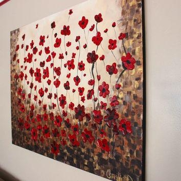 Large Wall Art, Huge Canvas Art, Red From Artbychristinadudycz On Intended For Large Red Canvas Wall Art (Image 5 of 14)