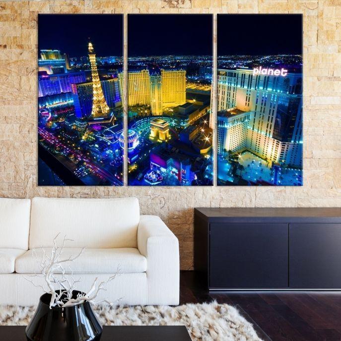Large Wall Art Las Vegas Canvas Print – Las Vegas Landscape At For Las Vegas Canvas Wall Art (View 3 of 20)
