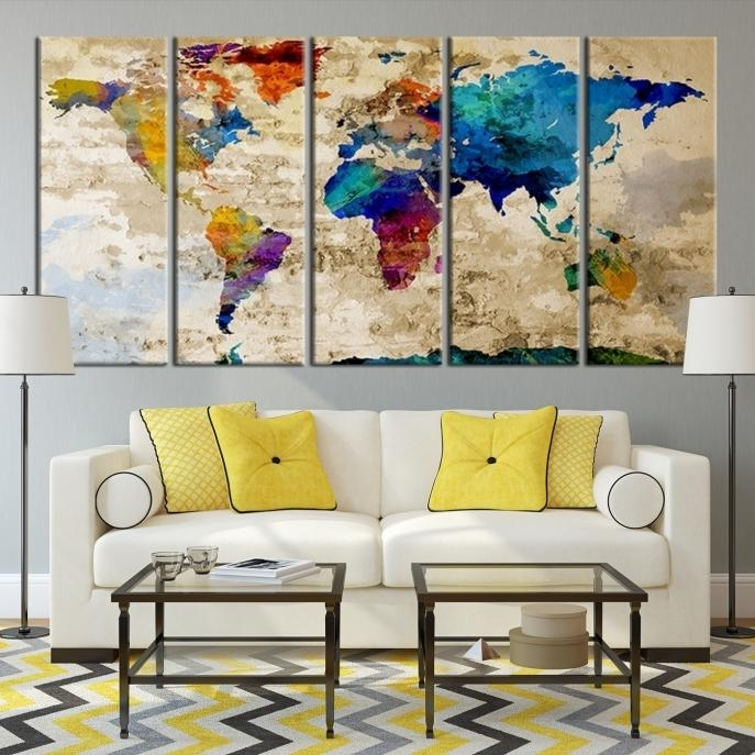 Large Wall Art Rainbow Coloured World Map On Old Cream Wall Canvas For Maps Canvas Wall Art (View 12 of 20)