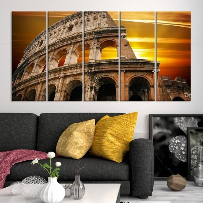 Large Wall Art Rome Canvas Print – Colosseum With Yellow Sunset Pertaining To Canvas Wall Art Of Rome (Image 17 of 20)