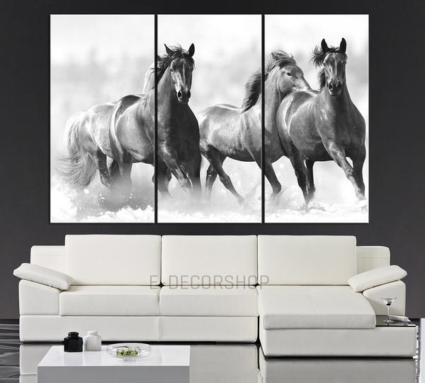 Large Wall Art Running Wild Horses Canvas Print – 3 Panel Large Pertaining To Horses Canvas Wall Art (Image 12 of 20)