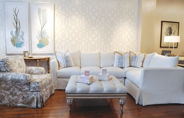 Large White Slipcovered Sectional – Beach Style – Living Room – Los For Quatrine Sectional Sofas (View 7 of 10)