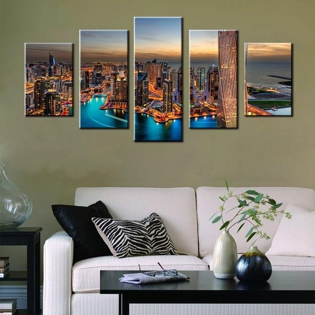 Las Vegas Dubai City Night View Beautiful Scene Landscape Print Regarding Dubai Canvas Wall Art (Image 14 of 20)