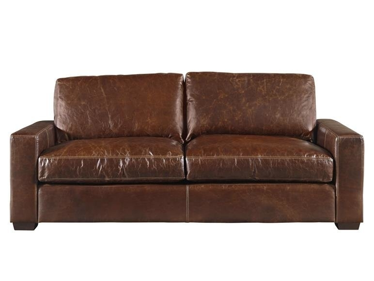 Latitude Run Dansville Two Seat Full Top Grain Leather Sofa Intended For Full Grain Leather Sofas (Image 6 of 10)