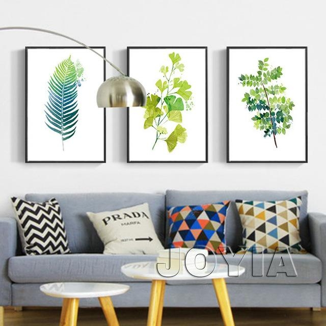 Leaf Print Wall Decor Green Botanical Leaves Art Prints Minimalist With Regard To Leaves Canvas Wall Art (View 14 of 20)