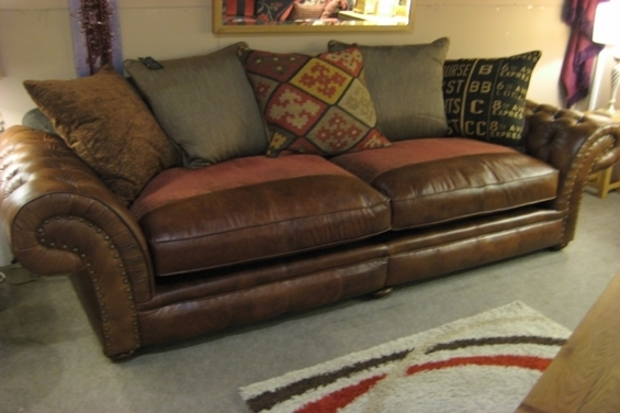 Leather And Material Sofas Uk | Conceptstructuresllc Pertaining To Leather And Cloth Sofas (Image 6 of 10)