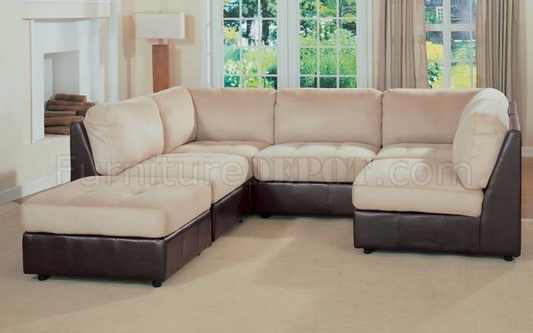 Leather And Microfiber Two Tone Sectional Sofa Throughout Two Tone Sofas (View 8 of 10)