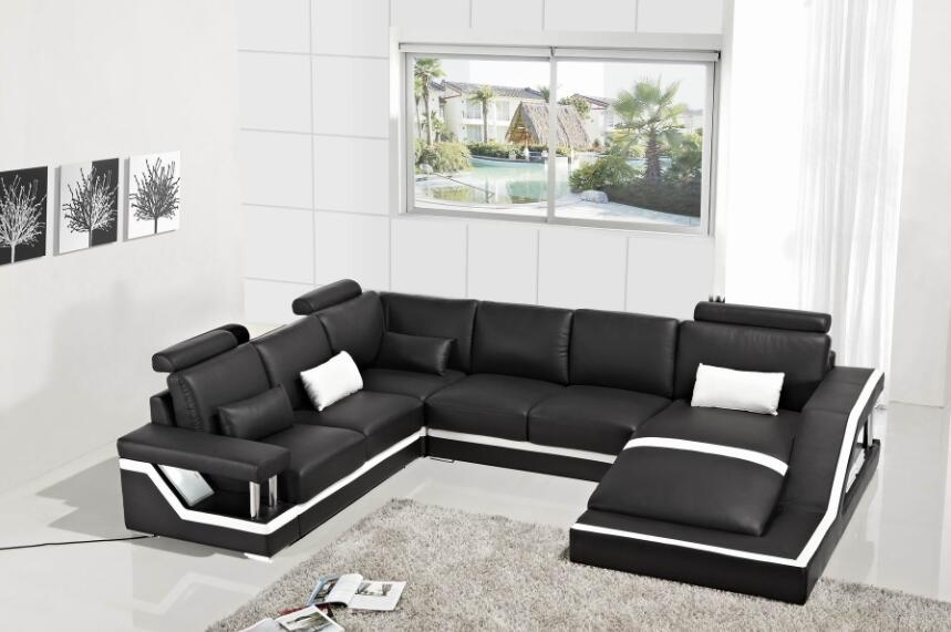 Leather Corner Sofas With Genuine Leather Sectional Sofa Modern Sofa Within Leather Corner Sofas (Image 6 of 10)