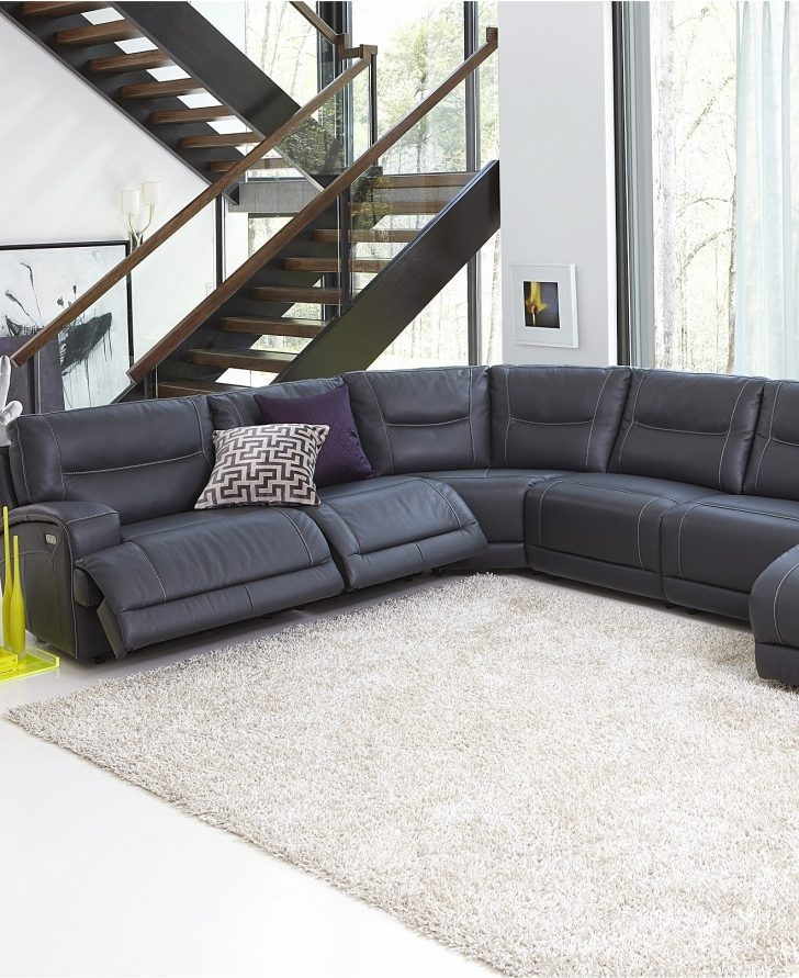 Leather Motion Sectional Sofa Julius 6 Piece Power Chaise Stock Inside Leather Motion Sectional Sofas (View 5 of 10)