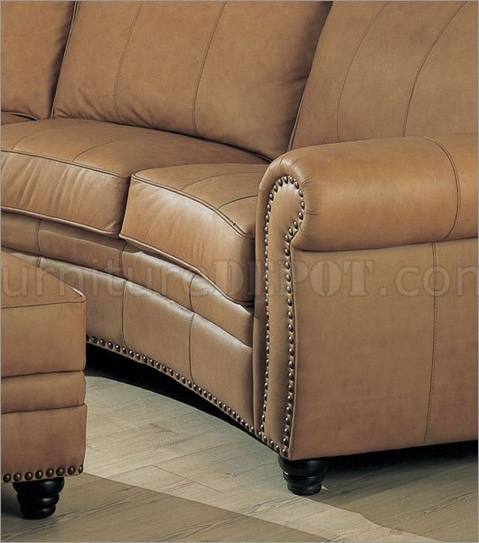 Leather Sectional Sofa & Ottoman Set W/nail Head Design With Regard To Camel Colored Sectional Sofas (Image 5 of 10)
