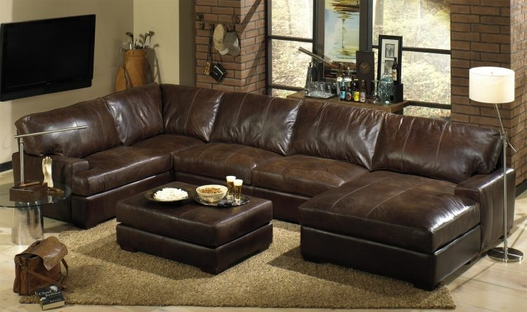 Leather Sectional Sofas With Recliners And Chaise With Dark Brown Within Leather Sectionals With Chaise And Ottoman (Image 5 of 10)