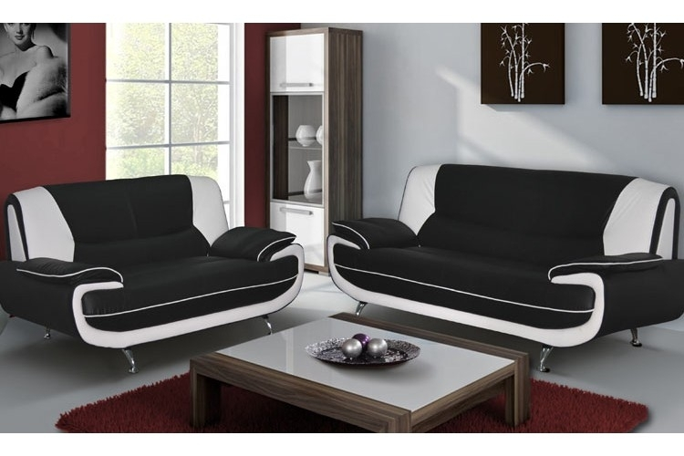 Leather Sofa Set Black & White With Black And White Sofas (Image 8 of 10)