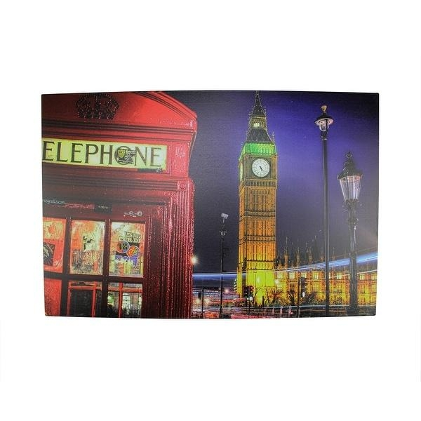 Led Lighted Famous Big Ben And Red Telephone Box London Canvas Inside London Canvas Wall Art (View 14 of 20)