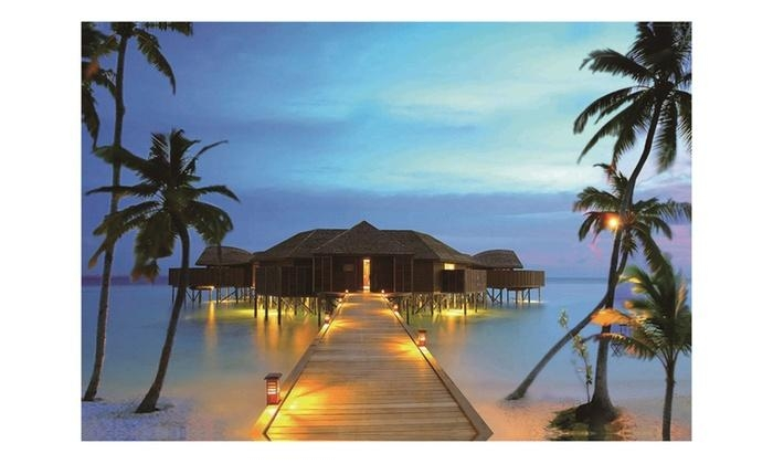 Led Lighted Tropical Paradise Island Beach Scene Canvas Wall Art Inside Canvas Wall Art Beach Scenes (Image 13 of 20)