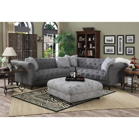 Lend A Touch Of Glamorous Appeal To The Living Room With This Lovely In Tufted Sectional Sofas (Image 3 of 10)