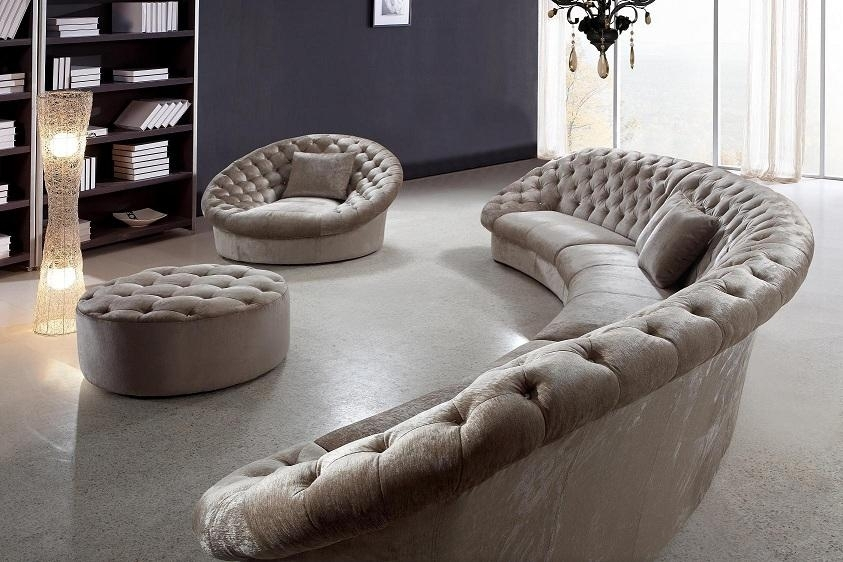 Leon Fabric Sectional Sofa, Chair And Round Ottoman | Fabric Regarding Round Sofas (Image 5 of 10)