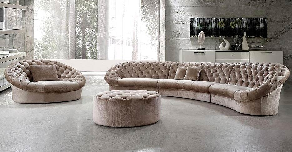 Leon Fabric Sectional Sofa, Chair And Round Ottoman | Furniture With Regard To Leons Sectional Sofas (Image 6 of 10)