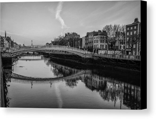 Liffey River Dublin Ireland In Black And White Canvas Print With Dublin Canvas Wall Art (View 10 of 20)