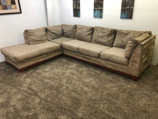 Light Brown Microfiber Sectional Sofa W/ Chaise Lounge (Furniture Throughout Eugene Oregon Sectional Sofas (Image 8 of 10)