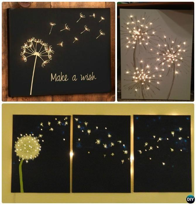Light Up Wall Art 2018 Led Lights Wall Art Canvas Spray Painting Intended For Dandelion Canvas Wall Art (Image 13 of 20)