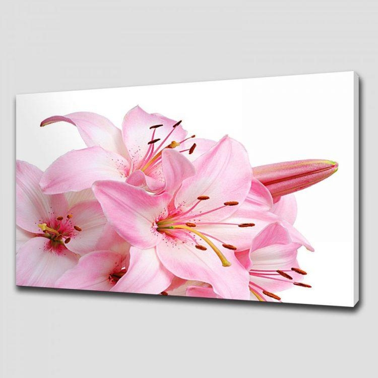 Lily Floral Canvas Print Picture Wall Art Intended For Pink Canvas Wall Art (Image 7 of 20)