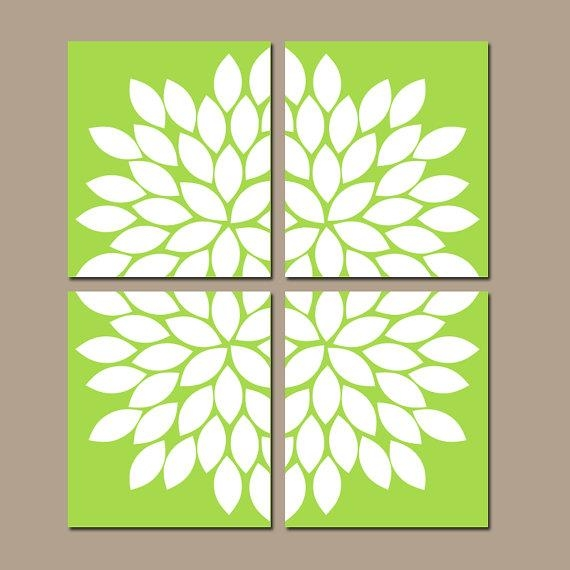 Lime Flower Wall Art Lime Green Bedroom Decor Canvas Or Intended For Lime Green Canvas Wall Art (Image 7 of 20)