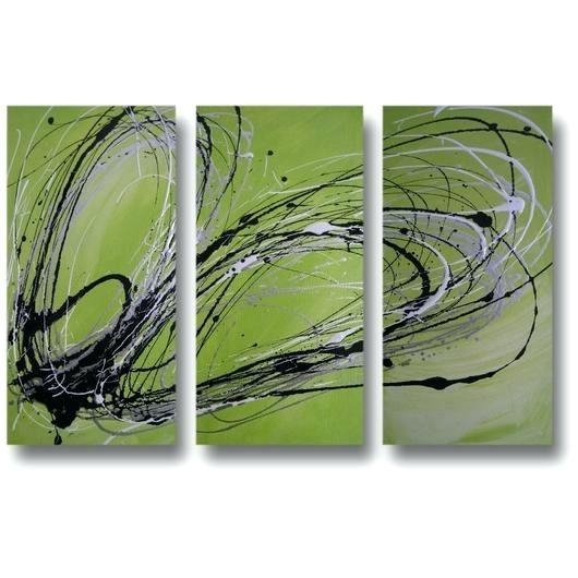 Lime Green Paintings Abstract Art Canvas Painting Lime Green Black With Green Abstract Wall Art (View 15 of 20)