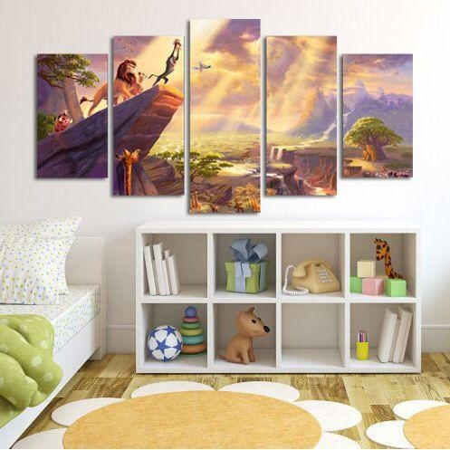 Lion King Simba Large Canvas Print, 5 Panel Canvas, Cartoon Wall Regarding Lion King Canvas Wall Art (Image 13 of 20)