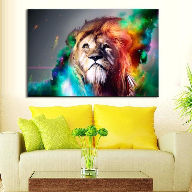 Lion Wall Art Animal Colorful Lion Wall Art Creative Lion Painting For Lion King Canvas Wall Art (Image 14 of 20)