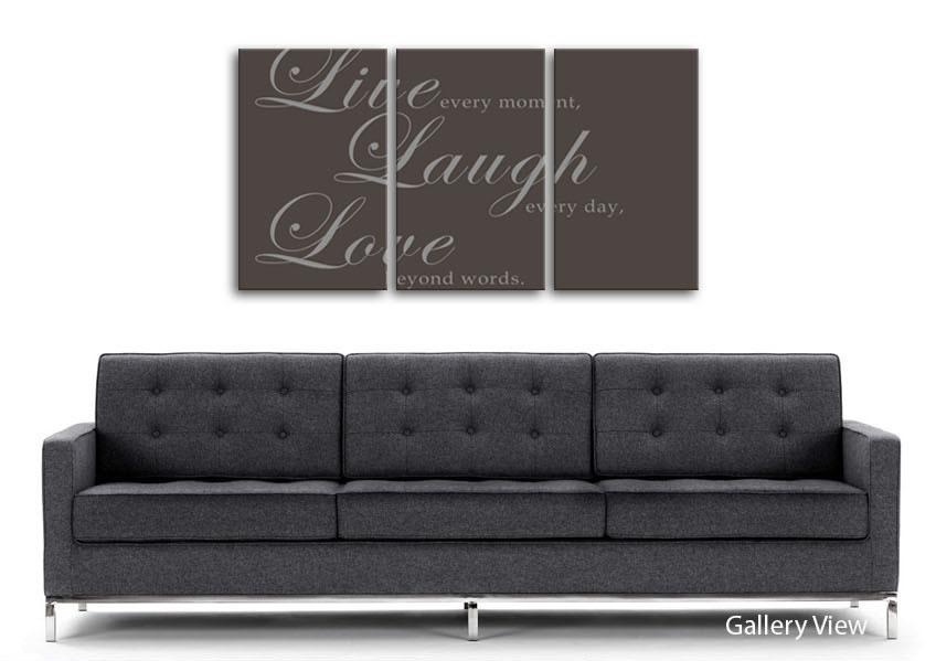Live Laugh Love 2 Chocolate Text Quotes 3 Panel Canvas 3 Panel Set With Live Laugh Love Canvas Wall Art (Image 4 of 20)