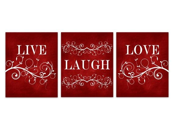 Live Laugh Love Canvas Red Wall Art Burgundy Home Decor With Live Laugh Love Canvas Wall Art (View 14 of 20)