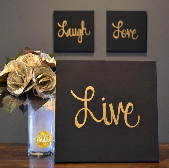 Live Laugh Love Canvas Wall Art Paintings 3 Piece Value Pack In Live Laugh Love Canvas Wall Art (Image 6 of 20)