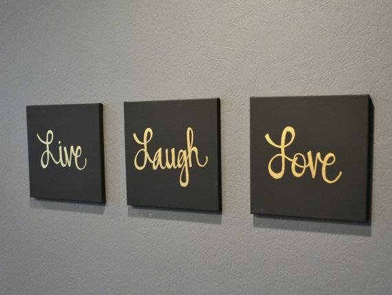 Live Laugh Love Canvas Wall Art Paintings 3 Piece Value Pack Wall Intended For Live Laugh Love Canvas Wall Art (View 4 of 20)