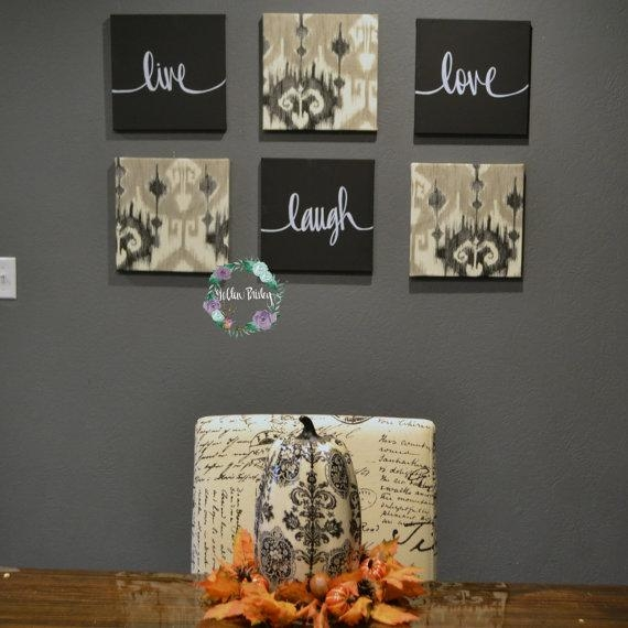 Live Laugh Love Wall Art Pack Of 6 Canvas Wall Hangings Hand Throughout Live Laugh Love Canvas Wall Art (Image 10 of 20)