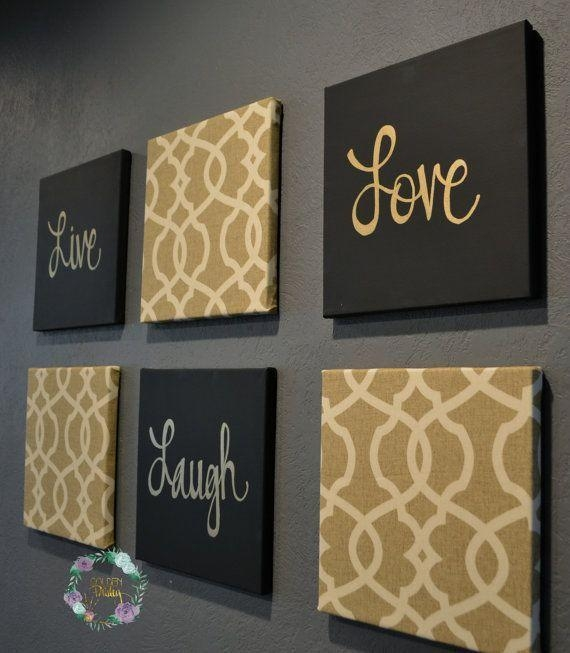 Live Laugh Love Wall Art Pack Of 6 Canvas Wallgoldenpaisley Within Live Laugh Love Canvas Wall Art (View 10 of 20)