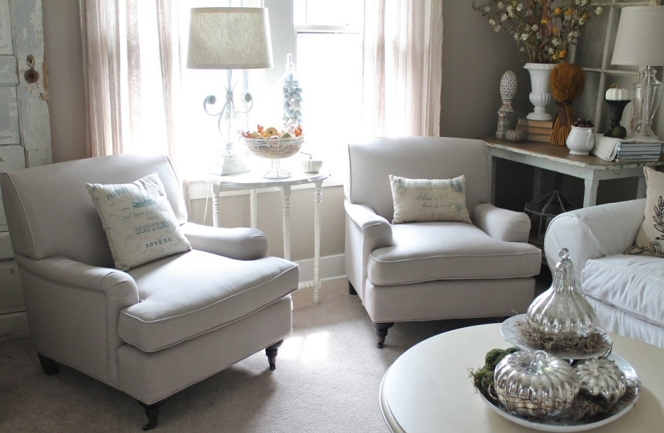 Living Room Cozy White Living Room Decoration Using White Sofa And Pertaining To White Sofa Chairs (Image 8 of 10)