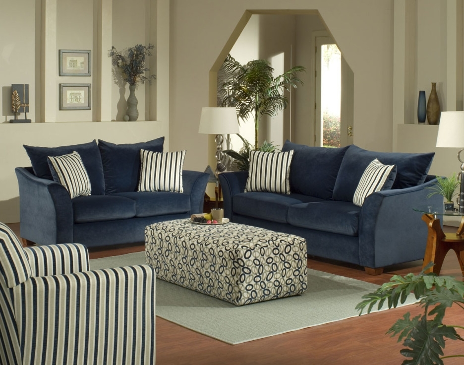 Living Room Gorgeous Living Room Decoration With Blue Sofas And Throughout Striped Sofas And Chairs (Image 3 of 10)