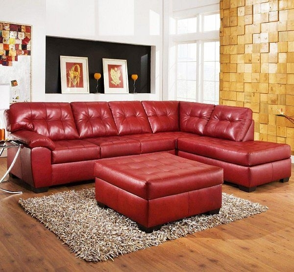 Living Room With Red Leather Sectional Sofa Set And Round Matching For Red Leather Sectional Couches (Image 4 of 10)