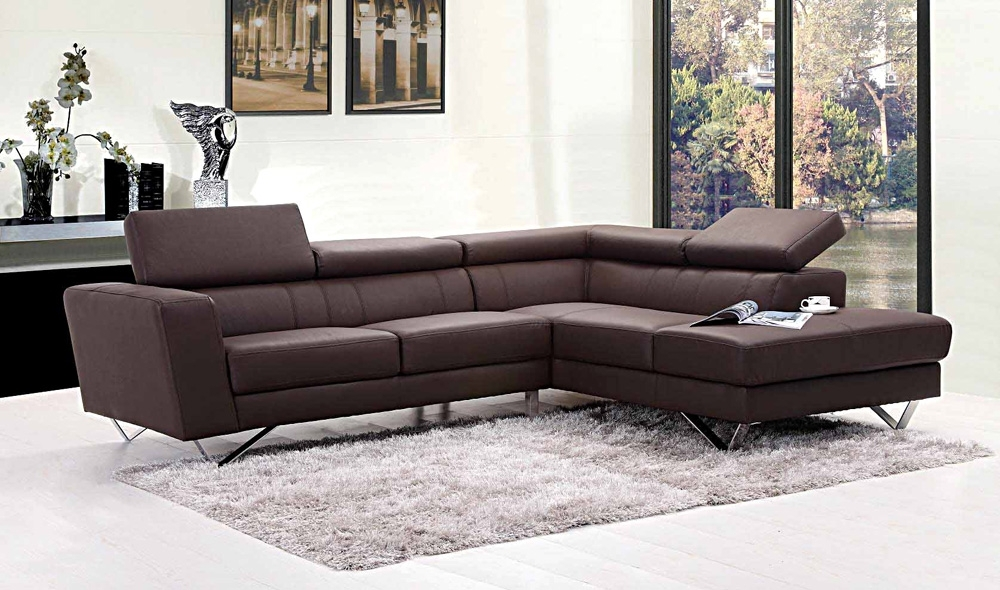 Liza Leather L Shaped Sectional Sofa | Leather Sectionals Intended For Leather L Shaped Sectional Sofas (Image 7 of 10)