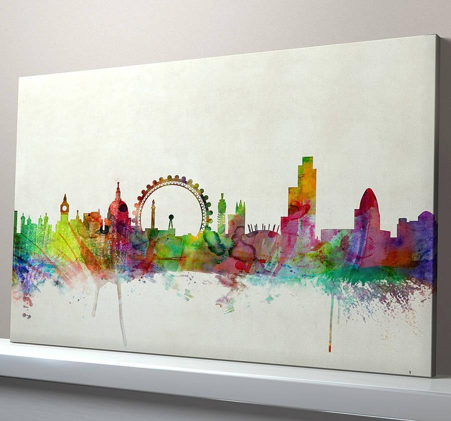 London City Skyline Printartpause | Notonthehighstreet Regarding Newcastle Canvas Wall Art (Image 6 of 20)