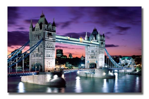 London Evening Tower Bridge Cityscape Landmarks City Landmark In Canvas Wall Art Of London (View 4 of 20)
