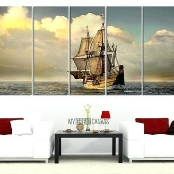 Long Wall Art Canvas Print Art Canvas Painting 5 Piece Large Boat For Big W Canvas Wall Art (Image 15 of 20)