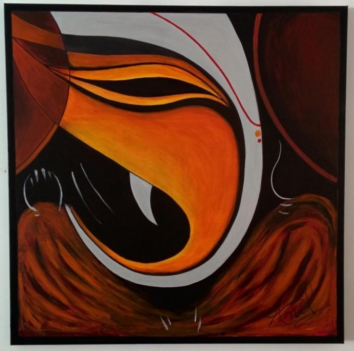 Lord Ganesha Acrylic On Canvasanil Mishra – $1,575 Available With Abstract Ganesha Wall Art (View 5 of 20)